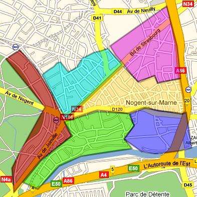 Carte des quartiers de Nogent sur Marne